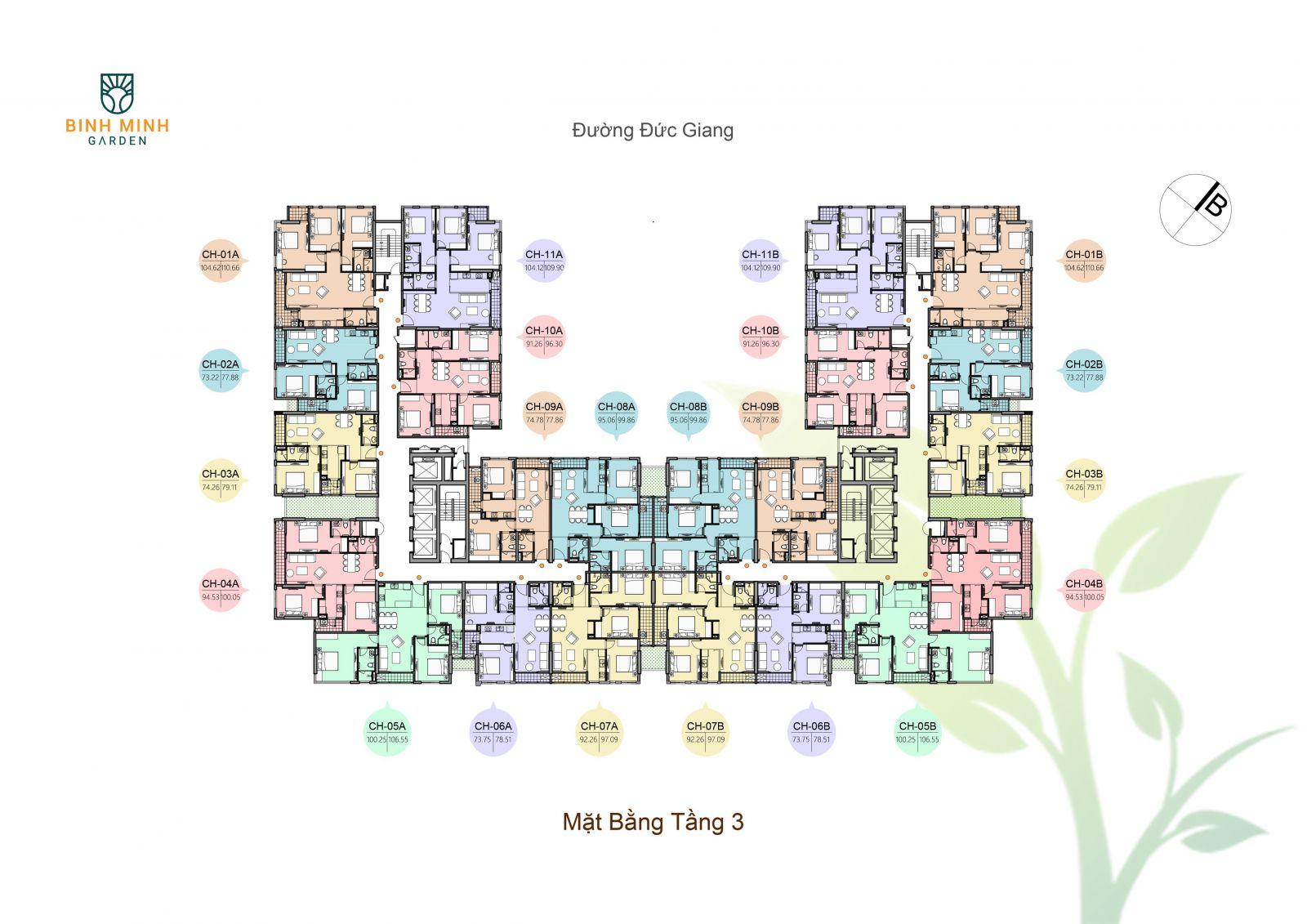 mặt bằng tầng 3 chung cư bình minh garden
